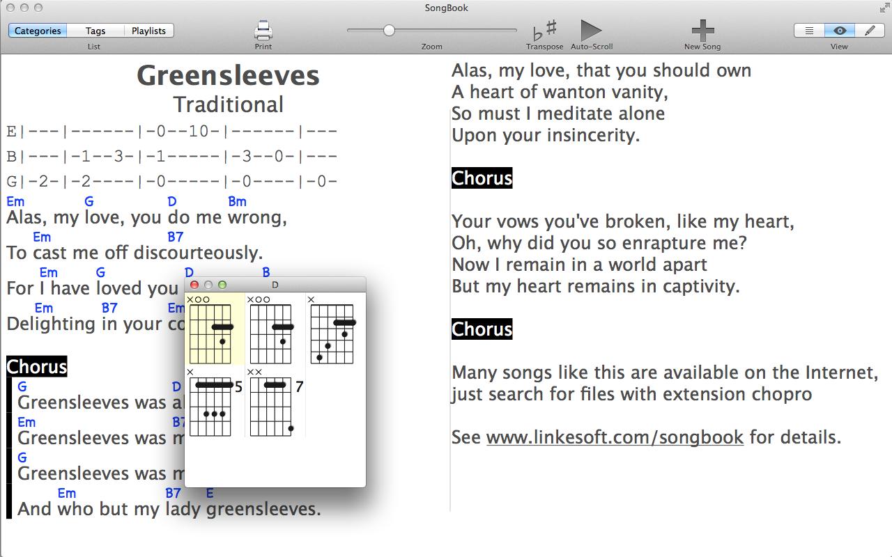 Linkesoft Songbook Songs And Chords